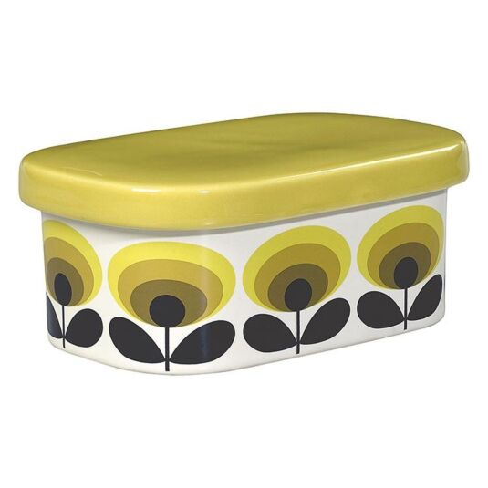 70's Oval Flower Yellow Boxed Butter Dish