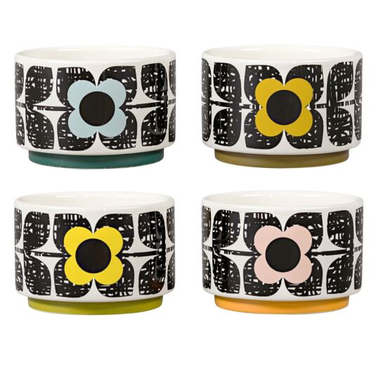 Scribble Square Flower Ramekins - Set of 4