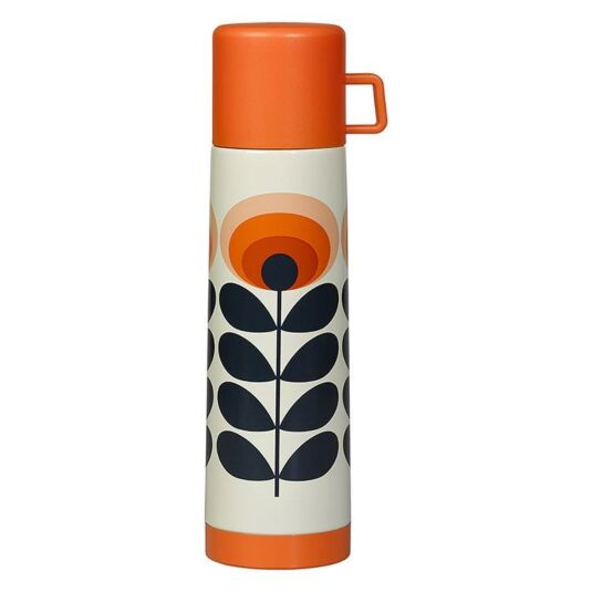 '70's Oval Flower Orange Flask