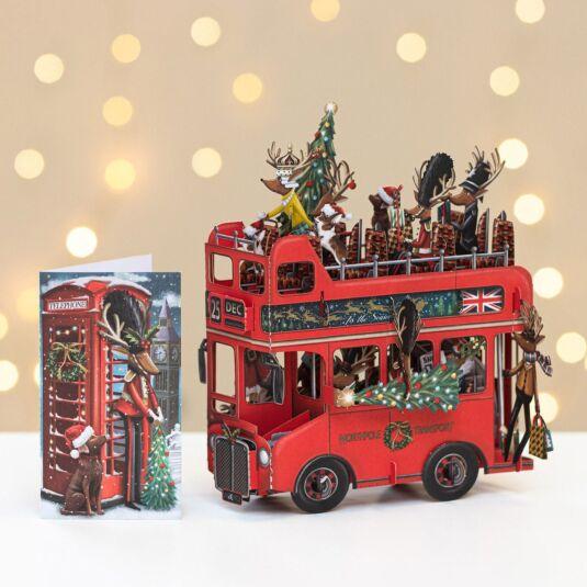 Santa's Bus 3D Christmas Card