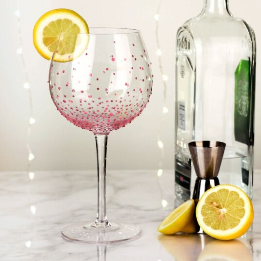 Hand Painted Pink Spots Gin Goblet