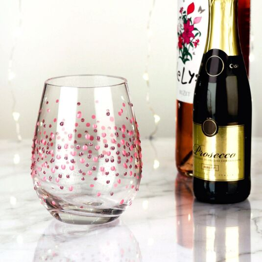 Hand Painted Pink Spots Stemless Wine Glass