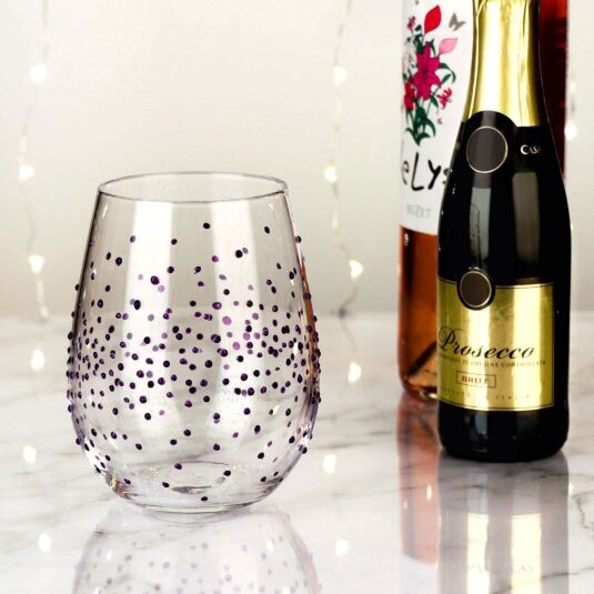 Hand Painted Purple Spots Stemless Wine Glass