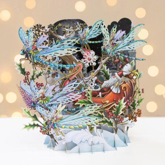Santa's Dragonflies 3D Christmas Card