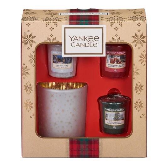 Alpine Christmas Three Votives and Holder Gift Set