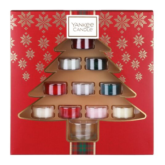 Alpine Christmas Ten Tealights and Holder Gift Set