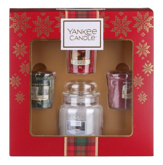 Alpine Christmas Small Jar with Three Votives Gift Set