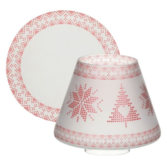 Red Nordic Frosted Glass Small Shade and Tray
