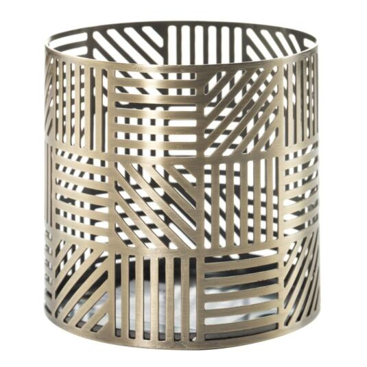 Crosshatch Brass Fragrance Sphere Candle Holder
