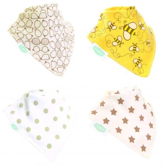 Stylish Cream Unboxed Bandana Bibs – 4 Pack