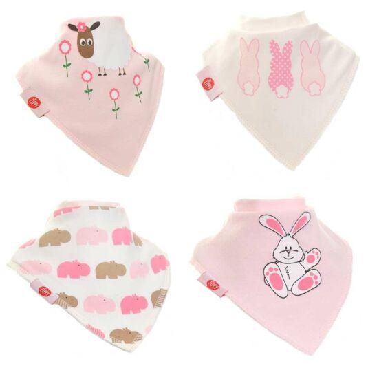 Pink Animals Unboxed Bandana Bibs – 4 Pack
