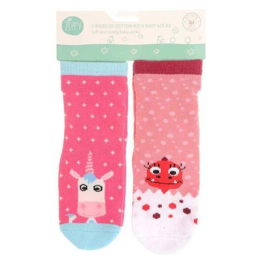 6-12 Months Pink Unicorn & Dinosaur Socks