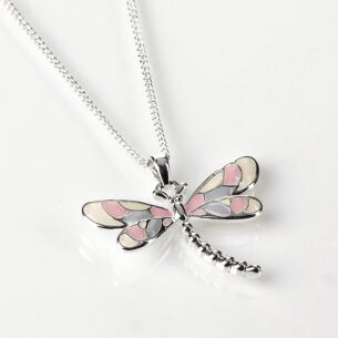 Silver Plated Pink Dragonfly Necklace