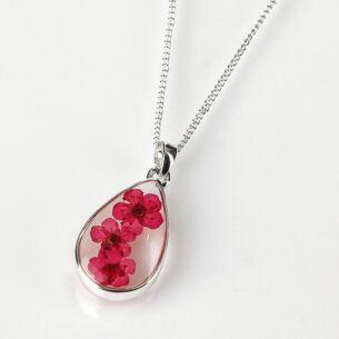 Pink Eternal Flowers Small Teardrop Necklace