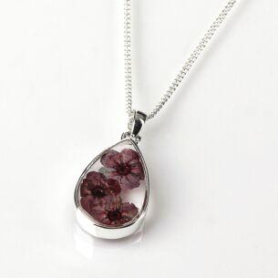 Equilibrium Violet Eternal Flowers Small Teardrop Necklace
