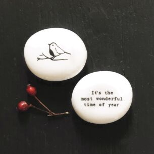East of India 'Most Wonderful Time of Year' Porcelain Pebble