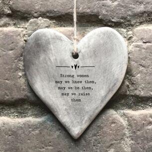 'Strong Women' Rustic Hanging Heart