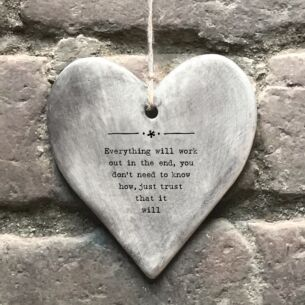 'Everything Will Work Out' Rustic Hanging Heart