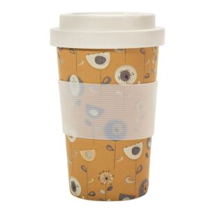 Mustard 1950's Flowers Bamboo Travel Cup