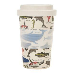 Cream Sea Creatures Bamboo Travel Cup