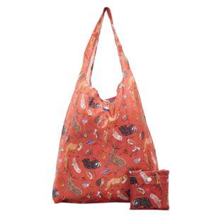 Red Woodland Animals Recycled Foldaway Shopper Bag
