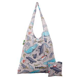 Grey Sea Creatures Recycled Foldaway Shopper Bag