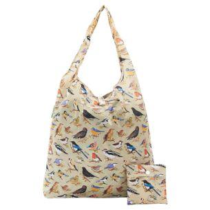 Green Wild Birds Recycled Foldaway Shopper Bag