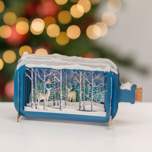 Reindeer In The Forest Message In A Bottle Christmas Card