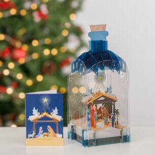 Nativity 3D Christmas Keepsake Art Bottle with Mini Card