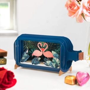 Flamingo Message In A Bottle Card