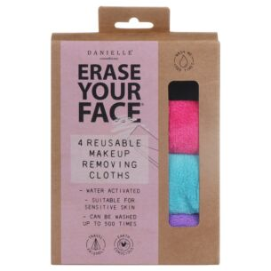 Erase Your Face Pack of Four Reusable Makeup Removing Cloths
