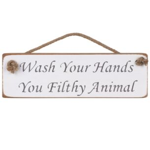 'Wash Your Hands' Natural Wooden Sign