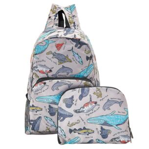 Grey Sea Creatures Foldaway Backpack