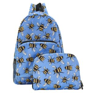 Blue Bumblebees Recycled Foldaway Backpack