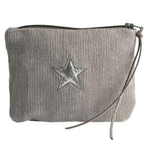 Grey Corduroy Star Purse