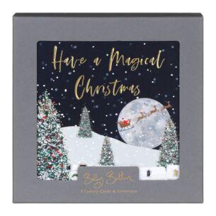 'Santa and Moon' Box of 8 Christmas Cards