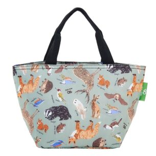 Olive Woodland Animals Recycled Insulated Lunch Bag