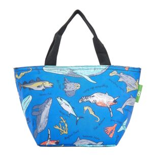 Blue Sea Creatures Recycled Insulated Lunch Bag