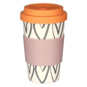 Hearts Outline Bamboo Reusable Coffee Cup