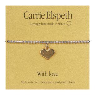 Heart With Love Sentiment Bracelet