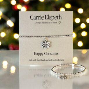 Snowflake Happy Christmas Sentiment Bracelet