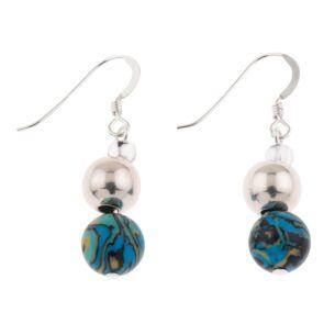 Turquoise Zebra Marbled Earrings