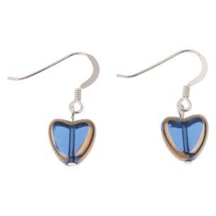 Blue Gold Edged Hearts Earrings