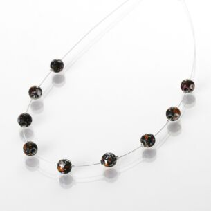Red and Black Shimmer Marble Necklace