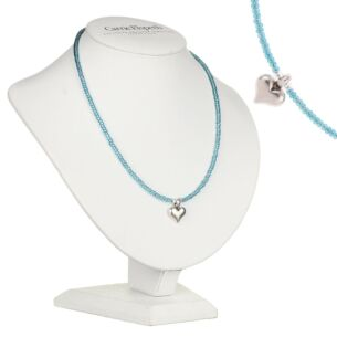 Teal Heart Strings Necklace