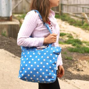 Button Spot Double Handle Cotton Tote