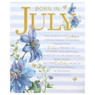 Floral 'Born in July' Birthday Card