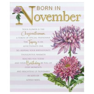 Floral 'Born in November' Birthday Card