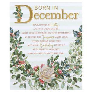 Floral 'Born in December' Birthday Card