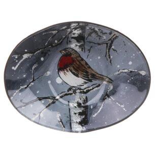 Winter Robin Small Oval Bowl